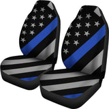 Thin Blue Line Flag - Car Seat Covers - Type 4 (Set of 2)