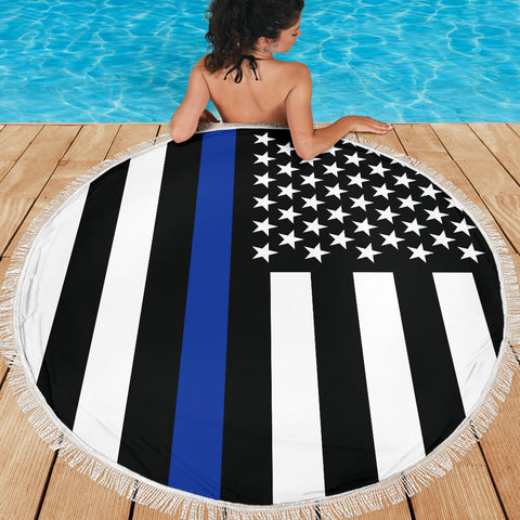 Thin Blue Line Flag - Beach Blanket