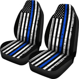 Thin Blue Line Flag - Car Seat Covers - Type 3 (Set of 2)