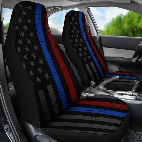 Tattered Thin Blue and Red Line Flag - Car Seat Covers (Set of 2)