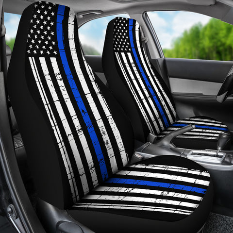 Thin Blue Line Flag - Car Seat Covers - Type 3