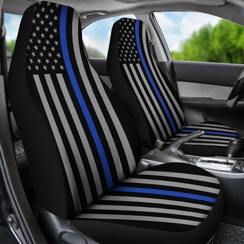 Thin Blue Line Flag - Car Seat Covers - Type 2