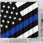 Thin Blue Line Shower Curtain - Type 1