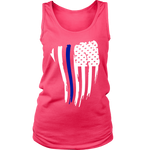 Women's Curved Thin Blue Line Flag - Tank Top