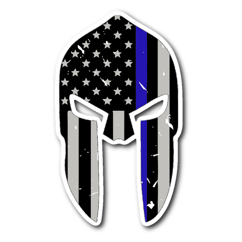 Spartan Helmet - Thin Blue Line - Sticker/Decal