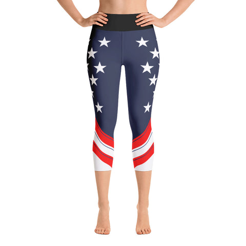 American (USA) Flag - Yoga Capri Leggings