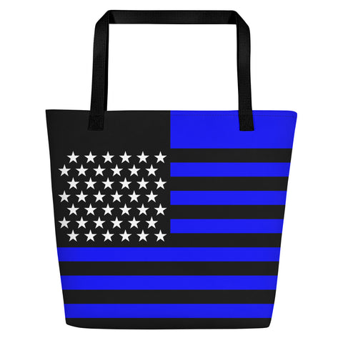 Thin Blue Line American Flag - Beach Bag