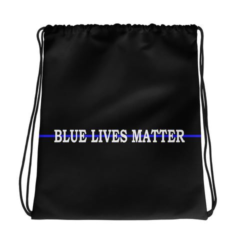 Blue Lives Matter - Thin Blue Line Drawstring Bag
