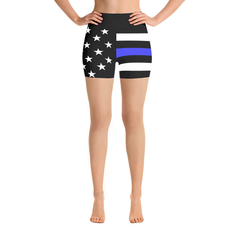 Thin Blue Line Flag - Yoga Shorts