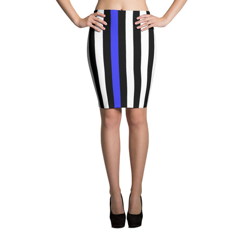 Thin Blue Line Flag Pencil Skirt