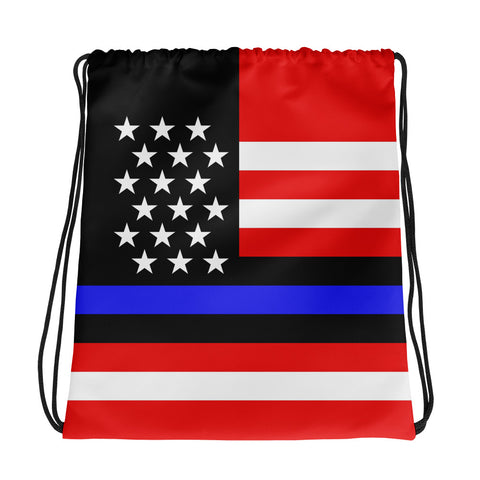 Blue Line American (USA) Flag - Drawstring Bag