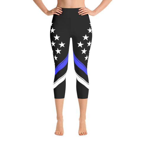 Thin Blue Line Flag Yoga Capri Leggings
