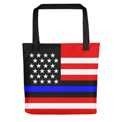 Thin Blue Line American (USA) Flag - Tote Bag