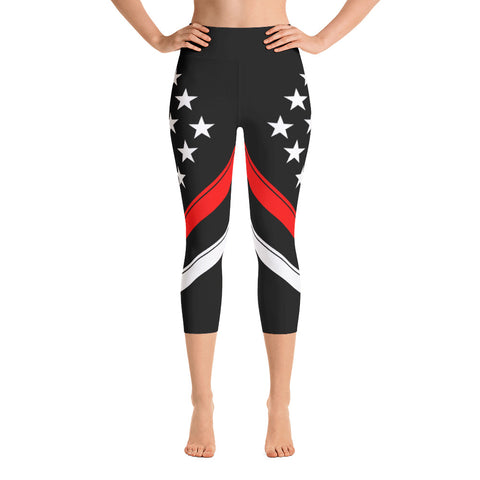 Thin Red Line Flag - Yoga Capri Leggings