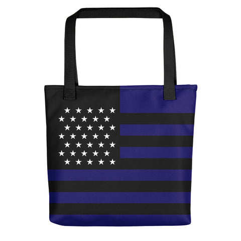 Thin Blue Line American Flag - Tote Bag