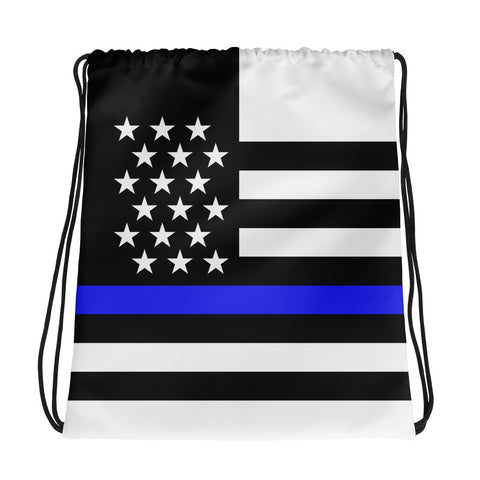Thin Blue Line Flag - Drawstring Bag