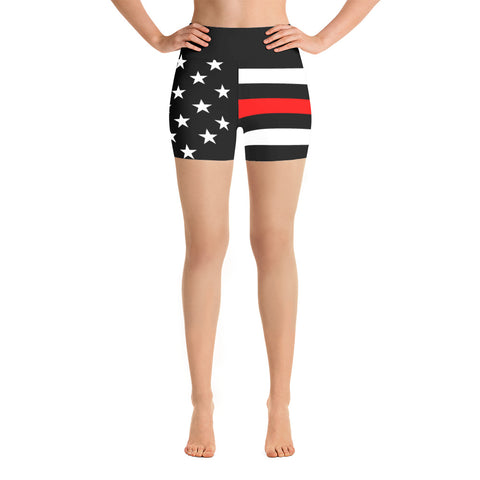 Thin Red Line Flag - Yoga Shorts