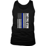 Hold the line Thin Blue Line flag Tank Tops