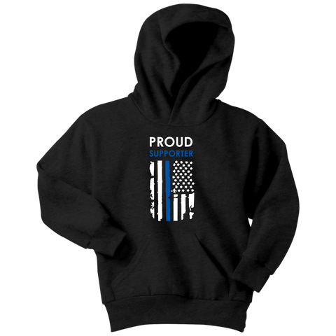 Proud Supporter - Thin Blue Line - Kids Hoodie