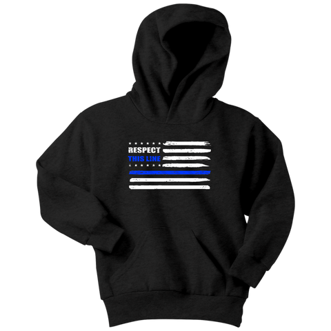 """Respect this Line"" - Thin Blue Line Kids Hoodie"