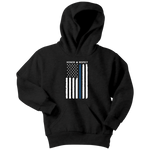 Thin Blue Line Flag Honor Respect - Kids Hoodie