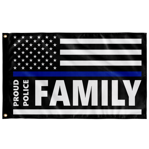 Proud Police Family - Thin Blue Line Flag