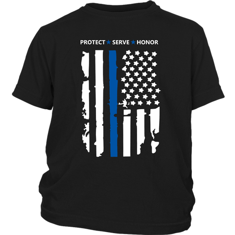 """Protect Serve Honor"" - Thin Blue Line Kids Shirt"