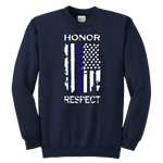 Honor Respect - Thin Blue Line - Kids Hoodie