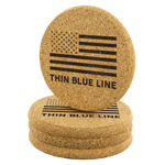 Thin Blue Line - Round Coasters