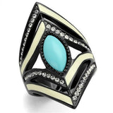 Thin Blue Line Turquoise Stainless Steel Ring