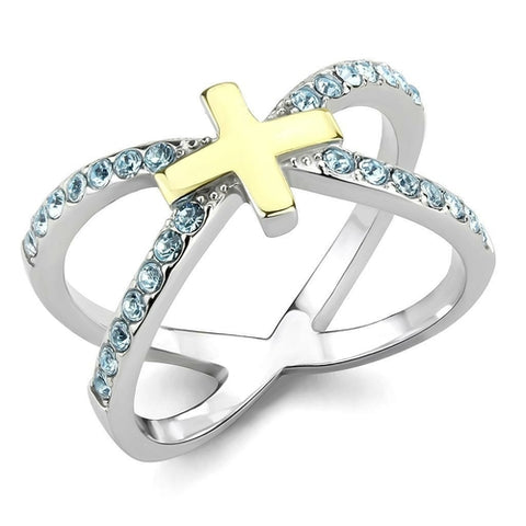 Thin Blue Line Gold Cross Ring