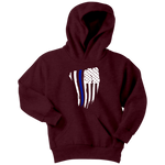 Youth Thin Blue Line American Flag Hoodie - Kids