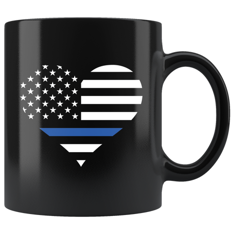 Thin Blue Line Heart Mug