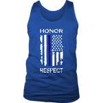 """Honor Respect"" Thin Blue Line Flag Tank tops"