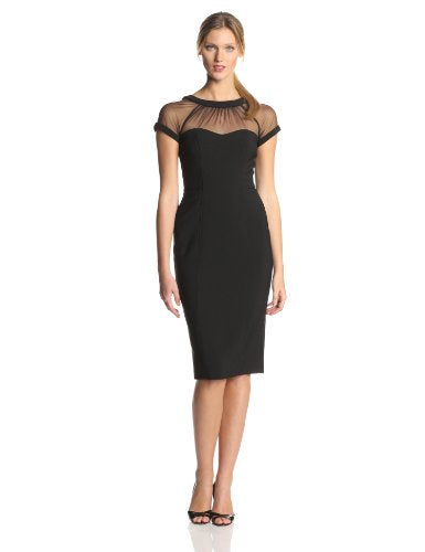 Maggy London Womens's The Illusion Dress 14 Black - NLBoutique