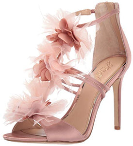 Badgley Mischka Jewel Women's Dustine Heeled Sandal, Blush Satin, 8 M US - NLBoutique