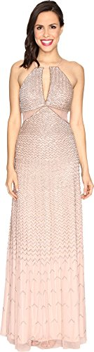 Adrianna Papell Women's Long Beaded Halter Gown with Side Cut Out Detail, Rose Gold 10 - NLBoutique