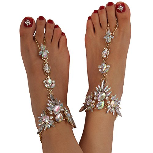 Holylove Foot Jewelry for Women Barefoot Sandals Beach Crystal Anklets Chains Wedding Vocation 1 Pair with Gift Box – HLAB007 Crystal - NLBoutique