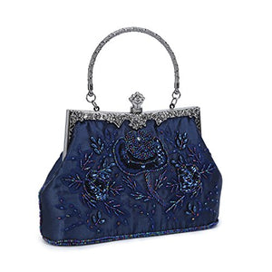 UBORSE Women's Embroidered Beaded Sequin Evening Clutch Large Wedding Party Purse Vintage Bags (Navy Blue)? - NLBoutique