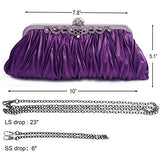 Pulama - Evening Handbag Classic Satin Detachable Strap Purple Clutc - NLBoutique