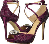 Badgley Mischka Jewel Women's Zaina Heeled Sandal Garnet Satin 8 M US - NLBoutique