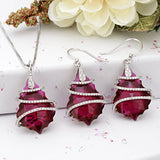 EVER FAITH 925 Sterling Silver CZ Baroque Pendant Jewelry Set Fuchsia Adorned with Swarovski Crystal - NLBoutique