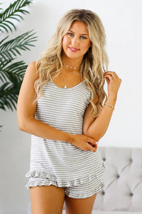 Gray Striped Ruffled Tank and Shorts Lounge Set