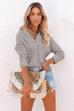 Gray Cotton Knit Grommet Top