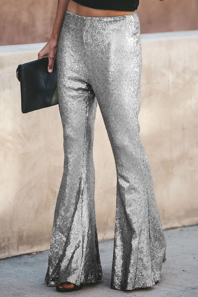 Silver Sequin Bell Bottom Fashion Pants
