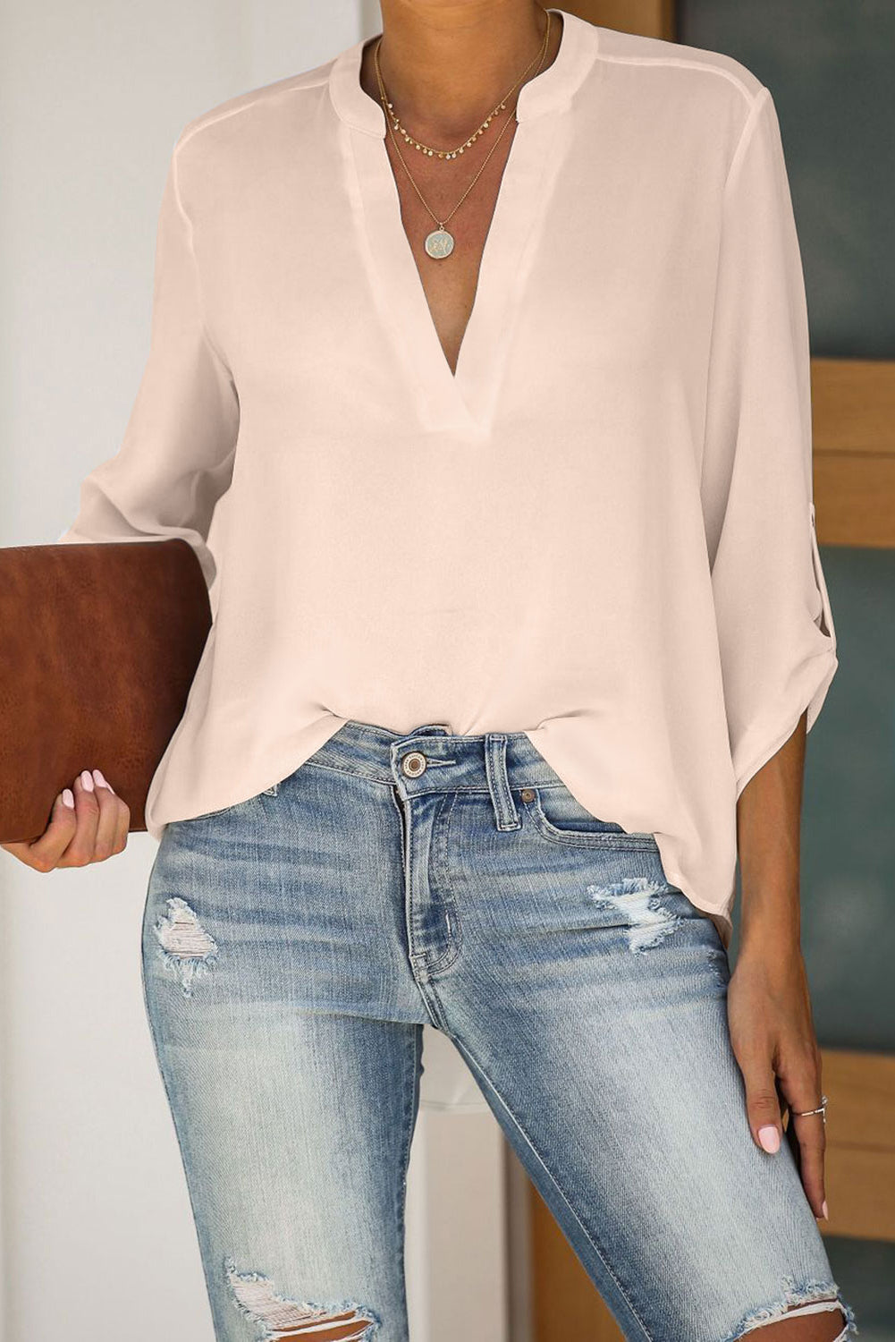 beige Split Collar Roll Up Sleeve Blouse