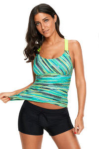 Green Colorful Tie Dye Print Tankini Top