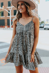 Button Detail Leopard Babydoll Dress women woman girls summer dress daily wear party date shopping cute sexy cool casual look