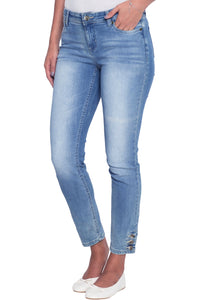 Silver Button Detail Light Blue Wash Skinny Jeans