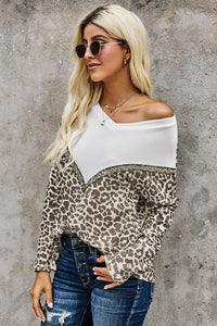 Leopard Splicing Colorblock V Neck Pullover Sweatshirts